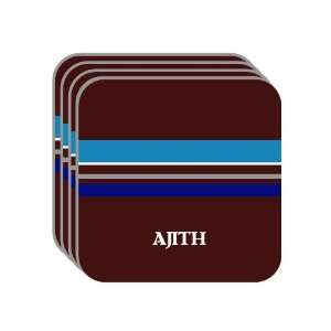 Personal Name Gift   AJITH Set of 4 Mini Mousepad Coasters (blue