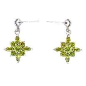 Sterling Silver Green Cubic Zirconia Flower Earrings