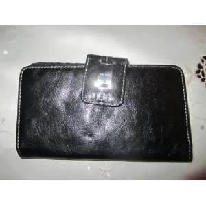 Womens Nine West Buckle up Glazed Sl Wallet (Black