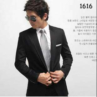 Mens Fashion Modern One Button Black Slim Fitted Trench Coat Sport