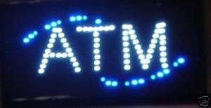ATM BLUE LED MOTION NEON LIGHT UP BAR SIGN 19 X 10