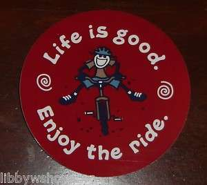 Life is Good Sticker 4 Round Enjoy the Ride Barn Red
