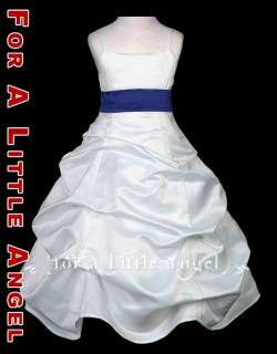 WHITE SATIN PICKUP FLOWER GIRL DRESS w NAVY SASH size 8