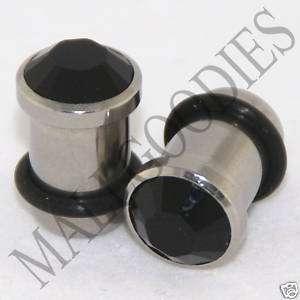 0328 Steel Solid Black Crystal Ear Plugs 0 Gauge 0G 8mm