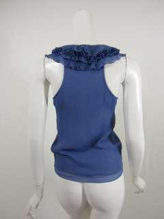 Robbi & Nikki womens lame blue pleated ruffle front tank top XS $165