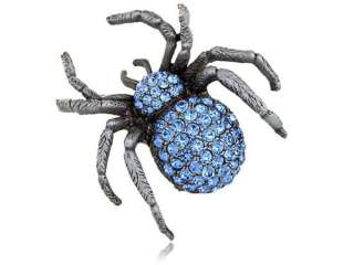 Light Sapphire Blue Czech Crystal Rhinestone Spider Insect Fashion Pin