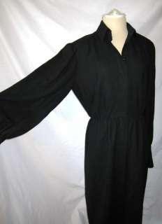 Vtg 80s ADELE SIMPSON for GUMPS Black 100% Wool Midi Dress L