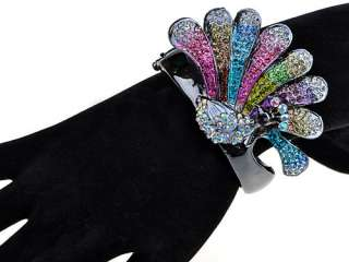 Colorful Fun Crystal Rhinestone Encrusted Peacock Bird Gunmetal
