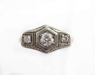 Vintage 1920s 18k White Gold Filigree Art Deco 3 Stone Diamond Ladies