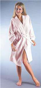 Womens Turkish Terry Cotton Bathrobe White Pink S M L