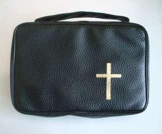 NEW BIBLE COVER CASE Zipper Black Pu LEATHER w/ CROSS L
