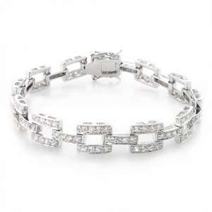 Bling Jewelry Square Link CZ Tennis Bracelet 7in Jewelry