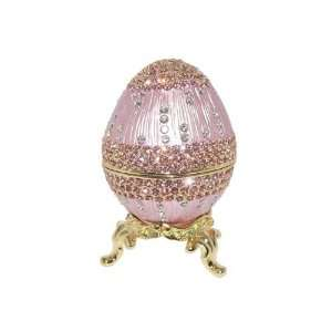 Faberge Style Russian Royal Pink Enamel Egg Trinket Box with Swarovski