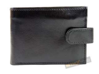 MENS Black LEATHER WALLET ID/CARD HOLDER COIN POCKET