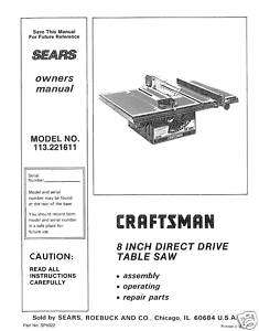 Craftsman Table Saw Manual Model # 113.221611