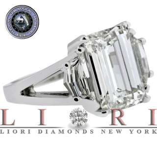 07 CARAT EMERALD CUT THREE STONE DIAMOND ENGAGEMENT RING EGL