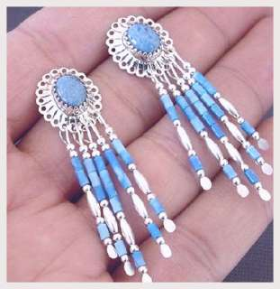 Navajo Denim Sterling Silver Concho Post Dangle Earring