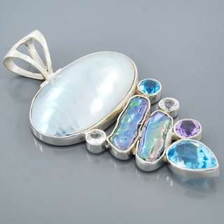 Mabe Pearl Amethyst Topaz Gemstone 925 Sterling Silver Pendant Jewelry