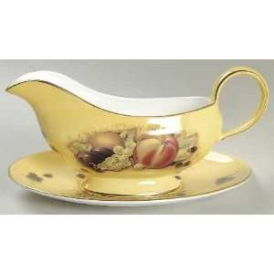 John Aynsley Orchard Gold Gravy Boat and Underplate, Fine