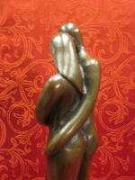 Art Deco Modern Bronze Sculpture Statue Figure Abstract Couple Baby