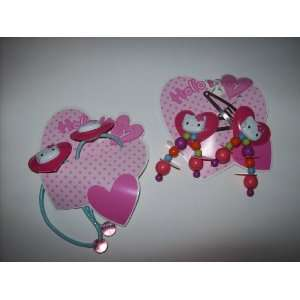 Kitty Hair Accessory Set Clip Barrette Ponytail Holders SET OF TWO