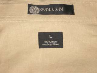 Ƹ̵̡Ӝ̵̨̄Ʒ ~ SEAN JOHN MEN NICE LIGHT BROWN LINEN SHIRT SZ L