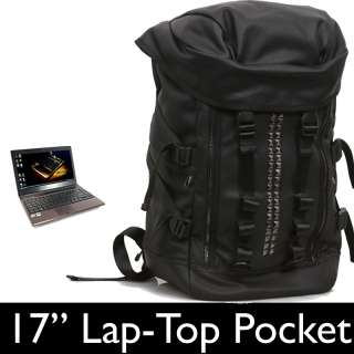 Leather 17 Laptop Backpack Military Rucksack Travel tactical Punk