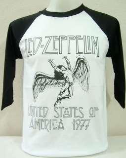 Led Zeppelin Vintage Rock Nice Cool White   Black Baseball T Shirt, L