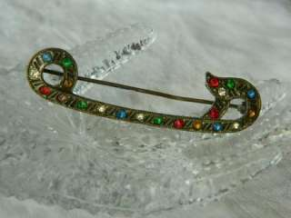 Antique Art Nouveau Elegant Unique Design Multi Stone Brooch Pin