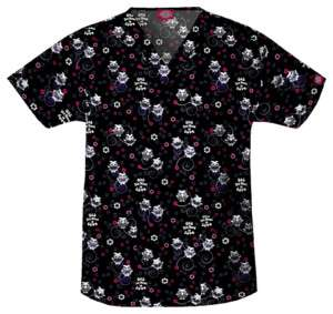 Dickies V Neck Scrub Top in Owl You Need is Love