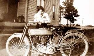 Girl Woman Vintage Harley Davidson Motorcycle Photo