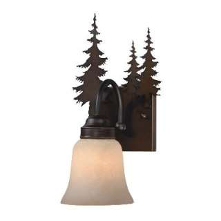NEW 1 Light Rustic Tree Wall Sconce Lighting Fixture, Burnished Bronze