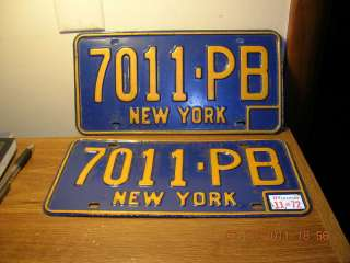 1972 72 NEW YORK NY LICENSE PLATE NICE TAG YOM PAIR