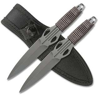 2pc Black Stainless Steel Throwing Knives Thick Cord Wraps   6