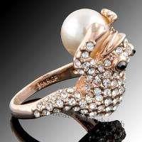 18k GOLD GP pearl Swarovski crystal frog ring 1200