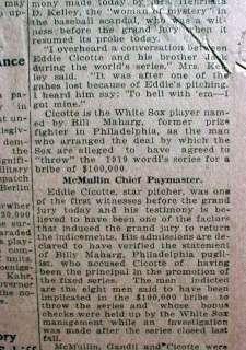 BEST 1920 newspaper BLACK SOX SCANDAL hdln CHICAGO 1919 World Series