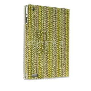 NEW GREEN WICKER BASKET WEAVE DESIGN LEATHER CASE STAND COVER FOR