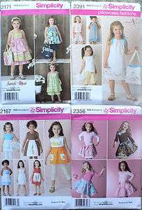 Girls Dresses Tops Pants Bags Pattern #2171 #2391 #2167 #2356 Sz 3~8