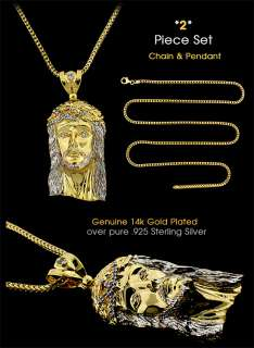 New Gold On Silver Jesus Face Pendant & Franco Chain