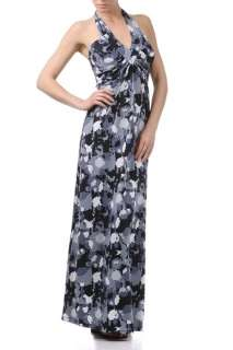 New Long Blue Grey Camouflage Maxi Dress 2606 Small XL