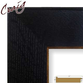 Picture Frame Black with Gold Trim 3.5 Wide Complete New Wood Frame