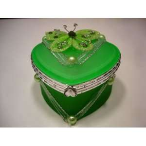 Glass Jewelry Trinket Box wi Butterly   Green