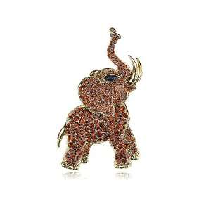 Crystal Rhinestone Gold Tone Wild Elephant Animal Pin Brooch Jewelry