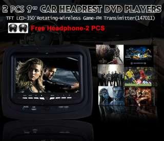 Headrest In Car Stereo DVD Player USB SD 32 Bits 2x Headphones