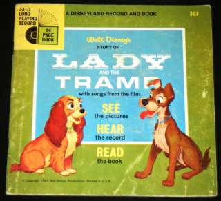 THE TRAMP Illustrated Book & 33 RPM Record Set, Disneyland Record 1965
