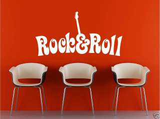 Rock Roll Guitar Decal Vinyl Wall Lettering art words