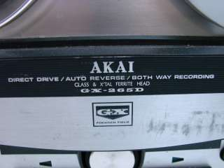 Vtg Akai GX 265D Direct Drive Reel to Reel Tape Recorder GX265D Auto