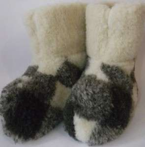MENS WOOLLY BOOTS/SLIPPERS 100% PURE SHEEP WOOL  FELT BOOTS 100% SHEEP