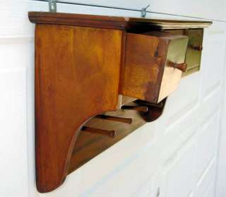Wood Wall Shelf 3 Drawer Coat Rack Mahogany 4 Pegs New