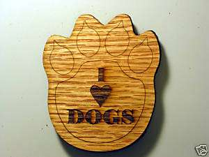 Love Dogs Wood Foot Print Coaster